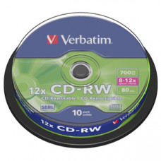 CD-RW Verbatim 8-12x 700MB, 80min. /10ks cake box