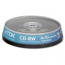 CD-RW TDK 8-12x 700MB, 80min. /10ks cake box